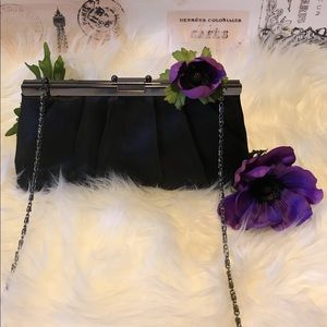Jessica McClintock Satin Convertible Clutch Black